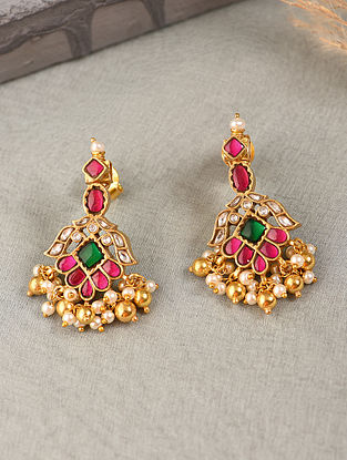 Pink Green Gold Tone Silver Earrings with Kundan and Kempstone