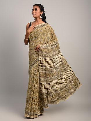 Brown Kalamkari Cotton Saree