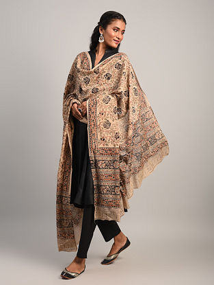 Brown Kalamkari Cotton Dupatta
