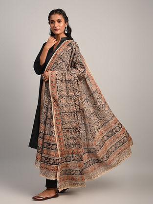 Black Kalamkari Cotton Dupatta