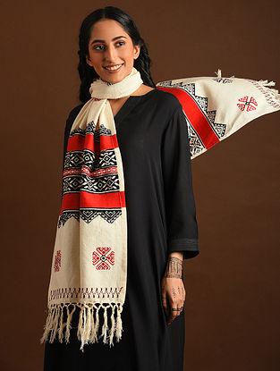 Off White Red Black Toda Embroidered Cotton Stole