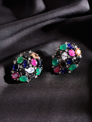 Multicolored Silver Tone Handcrafted Earrings