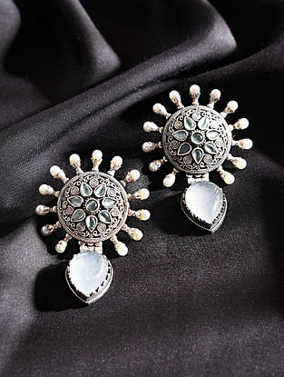 Green Silver One Handcrafted Earrings With Pearls