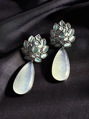 Green Grey Silver Tone Handcrafted Earrings