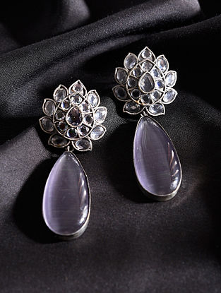 White Purple Silver Tone Handcrafted Earrings