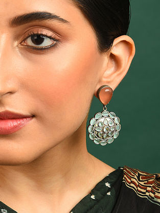 Green Orange Silver Tone Handcrafted Earrings