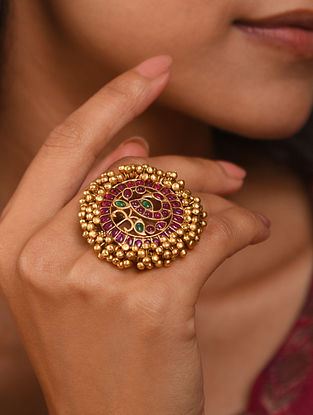 Pink Gold Tone Temple adjustable Ring