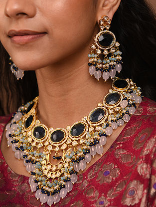 Blue Pink Gold Tone Silver Foiled kundan Necklace With Earrings