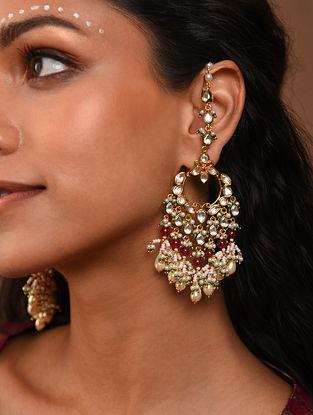 Red Gold Tone Silver Foiled kundan Earrings