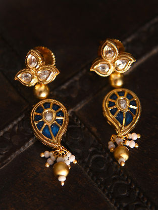 Blue Gold Tone Silver Foiled kundan Enameled Earrings