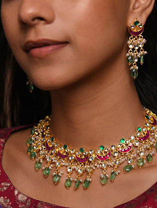 Red Green Gold Tone Silver Foiled kundan Necklace With Earrings