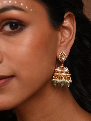 green Gold Tone Silver Foiled kundan Jhumki Earrings