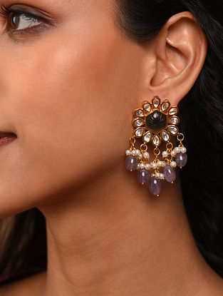 Grey Gold Tone Silver Foiled kundan Earrings