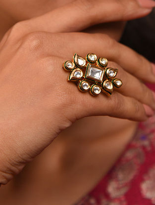 Gold Tone Silver Foiled kundan adjustable Ring