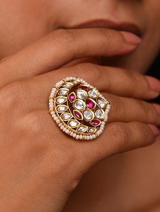 Red White Gold Tone Silver Foiled kundan Ring