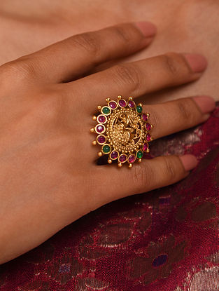Pink Green Gold Tone Temple adjustable Ring