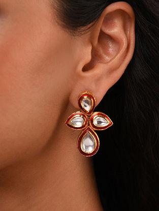 Red Gold Tone Silver Foiled kundan Enameled Earrings