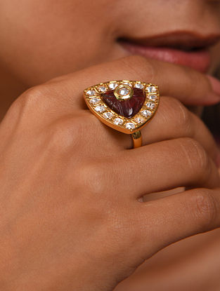 Red Gold Tone Silver Foiled kundan adjustable Ring