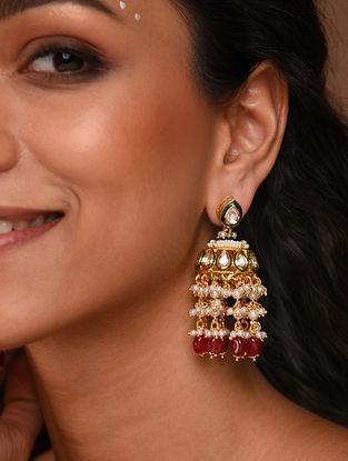 Red White Gold foiled kundan Jhumki Earrings