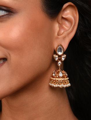 Gold Tone Silver Foiled kundan Jhumki Earrings