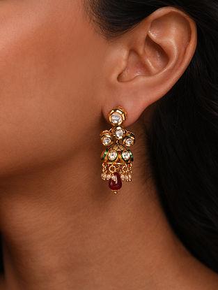 Red Gold Tone Silver Foiled kundan Jhumki Earrings