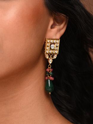 Green Pink Gold Tone Silver Foiled kundan Earrings