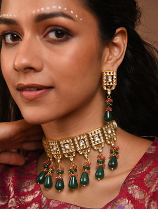 Green Pink Gold Tone Silver Foiled kundan Necklace With Earrings