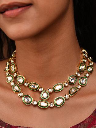 Gold Tone Silver Foiled kundan Necklace