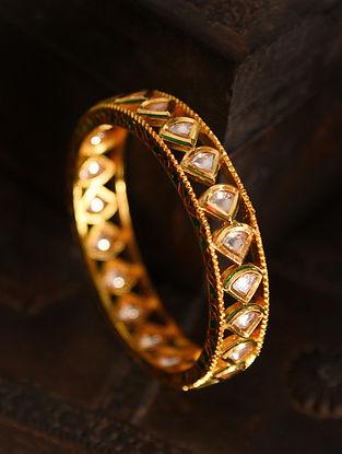 Gold Tone Silver Foiled kundan Bangle