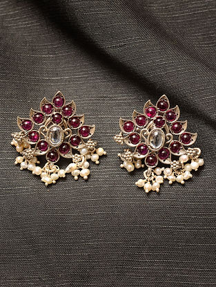 Maroon Kempstone Encrusted Silver Earrings with Pearls