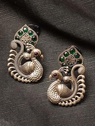 Maroon Green Kempstone Encrusted Silver Earrings