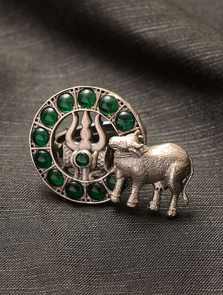 Green Kempstone Encrusted Temple Silver Adjustable Ring