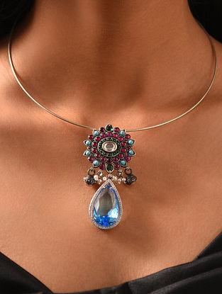 Maroon Blue Kempstone Encrusted Silver Pendant