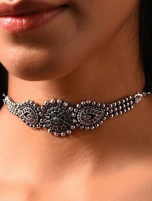 Maroon Green Kempstone Encrusted  Silver Choker Necklace