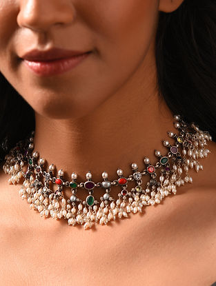 Navratan Temple Silver Necklace with Pearls