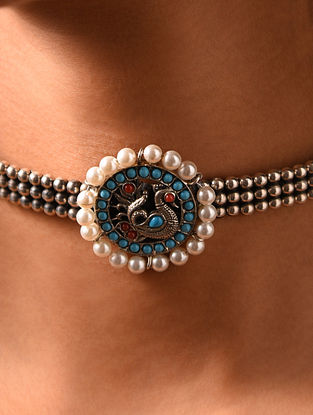 Turquoise Encrusted Silver Choker Necklace with Pearls