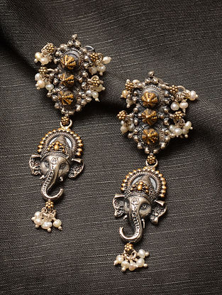 Dual Tone Temple Silver Earrings with Pearls
