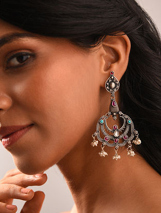 Turquoise Maroon Kempstone Encrusted Silver Earrings with Pearls