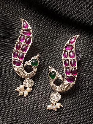 Maroon Green Kempstone Encrusted Silver Earrings with Pearls