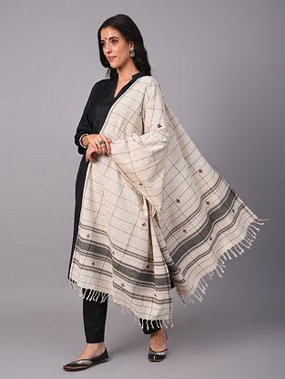 Off White Grey Handwoven  Koraput Cotton Dupatta
