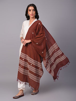 Brown Handwoven  Koraput Cotton Dupatta