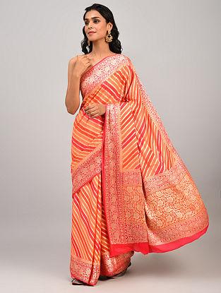 Red Handwoven Benarasi Chiffon Saree