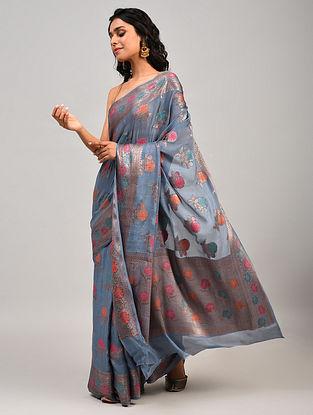 Blue Handwoven Benarasi Chiffon Saree