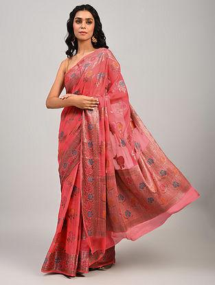 Pink Handwoven Benarasi Chiffon Saree