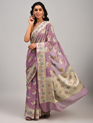 Purple Handwoven Benarasi Chiffon Saree