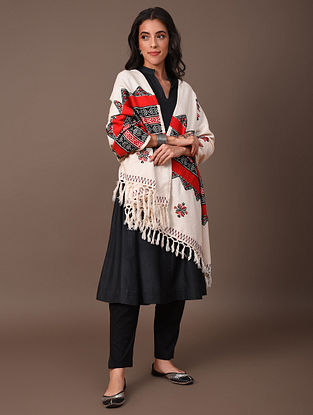 Off White Red Black Toda Embroidered Cotton Shawl