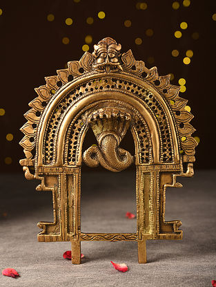 Antique Brass Handcrafted Gold Nag Prabhavali (L-9.5in, W-7.2in)