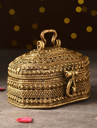 Antique Brass Handcrafted Box (L-3.7in, W-5.2in, H-3.2in)