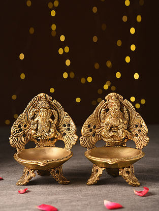 Antique Brass Handcrafted Lakshmi And Ganesh Oil Lamp (L-3.7in, W-4in, H-5in) (Set of 2)