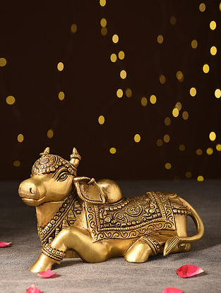 Antique Brass Handcrafted Nandi Tabletop Accent (L- 8.5in, W- 4.7in, H- 5.7in)